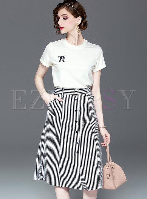 Cartoon Pattern O-neck T-shirt & Striped Skirt