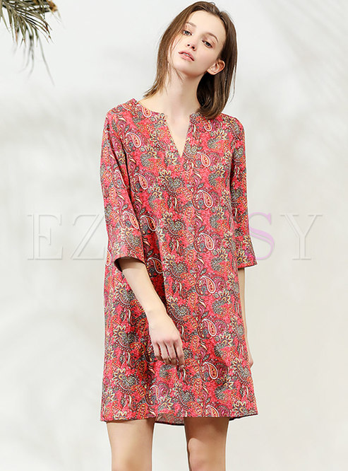 Brief V-neck Print Linen Beach Shift Dress