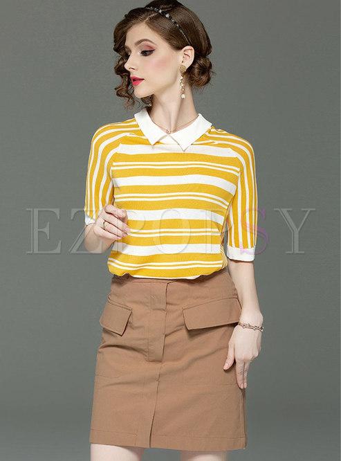 Striped Lapel Knitted Top & Sheath Mini Skirt