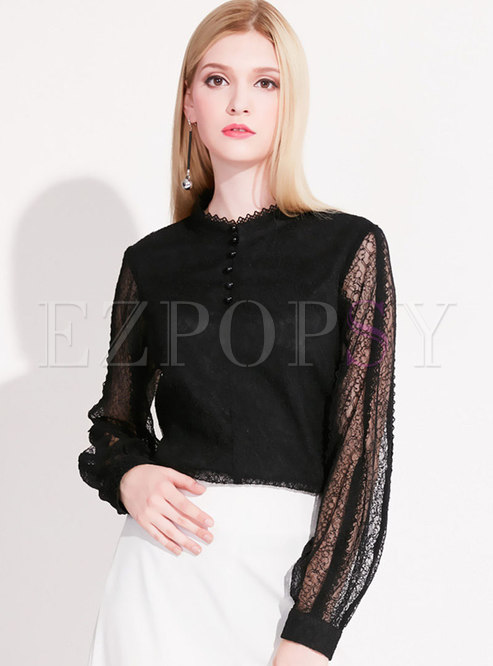 Lace Black Hollow Out Slim Blouse