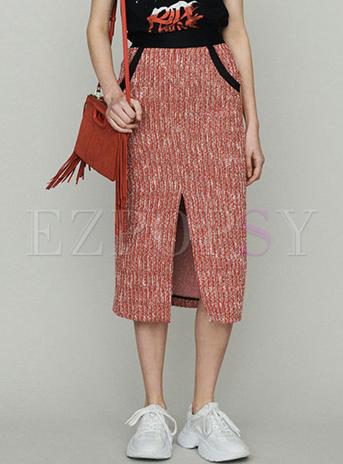 Elegant Color-blocked Split Sheath Skirt