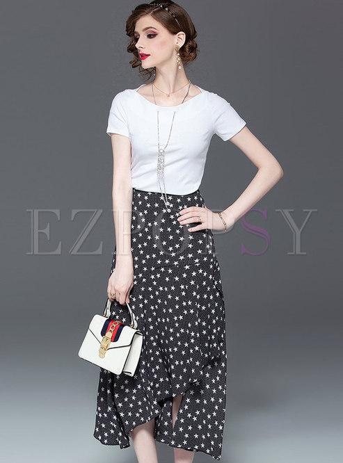 Casual O-neck T-shirt & Print Asymmetric Skirt