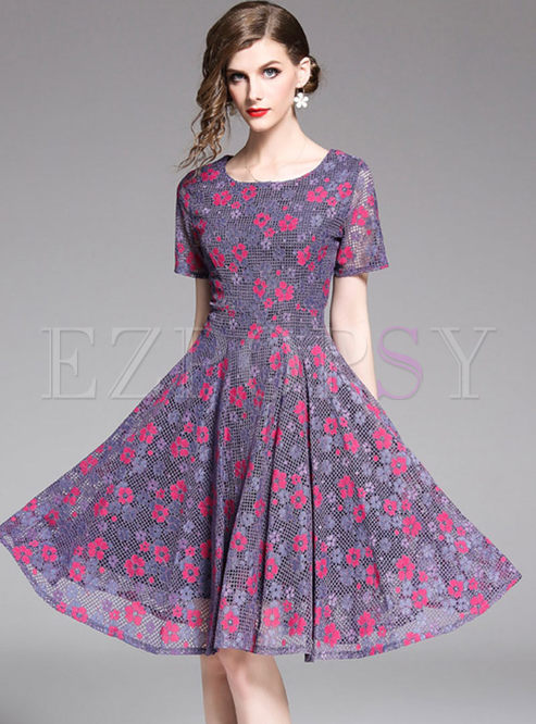 O-neck Short Sleeve Waist Print Skater Dress