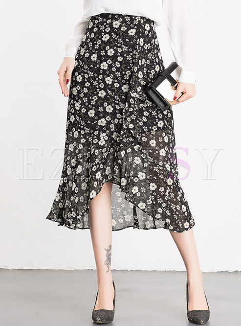 Chiffon Floral Print Mermaid Skirt