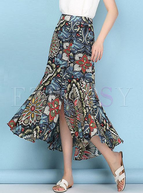Chiffon Print Mermaid Bohemia Blue Skirt