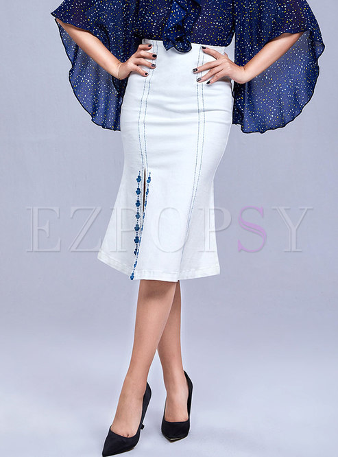 White Denim Embroidered Split Sheath Skirt