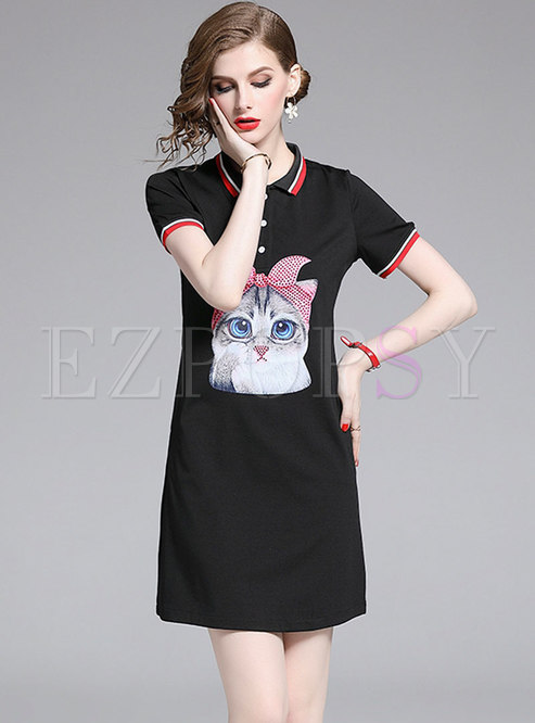 Brief Cartoon Turn-down Collar T-shirt Dress
