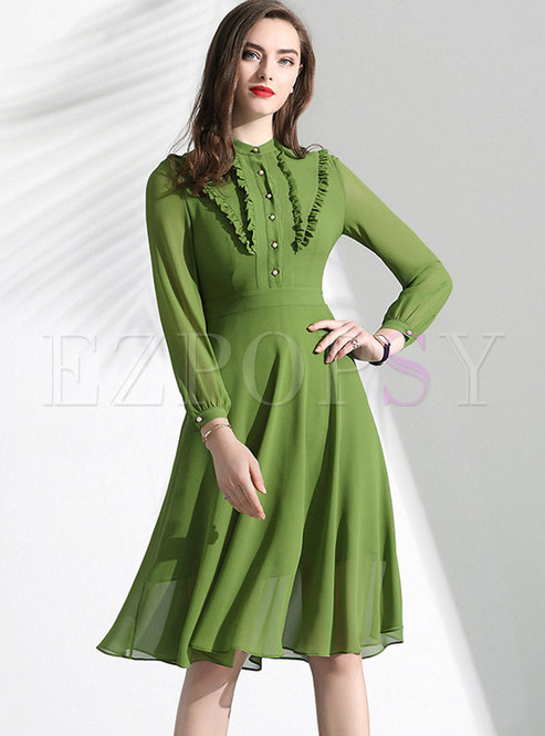 Pure Color Stand Collar High Waist Midi Dress