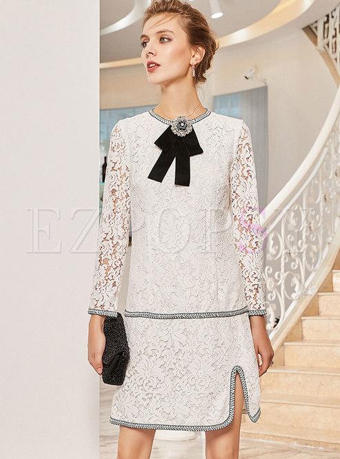 Elegant Lace Hollow Out Slit Mini Dress