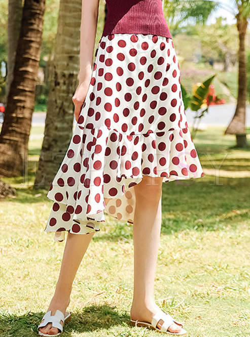 Asymmetric Polka Dot Retro Falbala Sheath Skirt