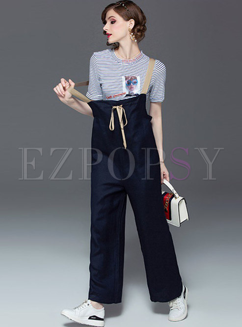 Casual Striped Print O-neck T-shirt & Overalls