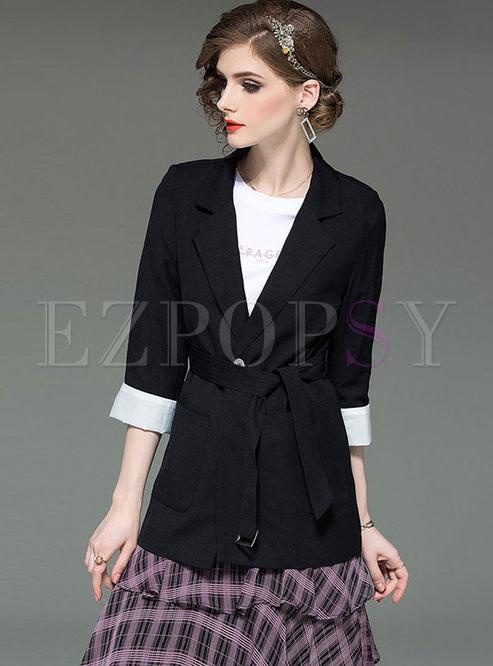 Brief Black Notched Slim Blazer With Pocket