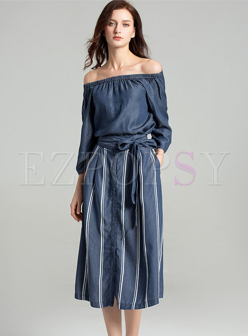 Denim Slash Neck Top & Striped Tie-waist Skirt