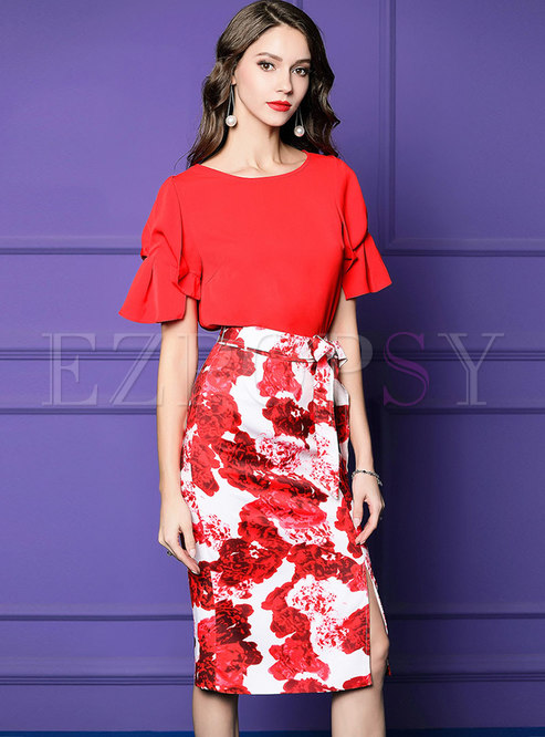 O-neck Flare Sleeve Slim Top & Print Slit Sheath Skirt