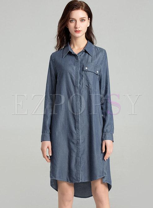 Denim Striped Lapel Slit Asymmetric Shift Dress