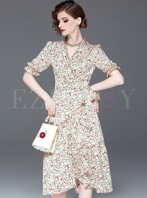 Floral V-neck Gathered Waist Asymmetric Falbala Dress