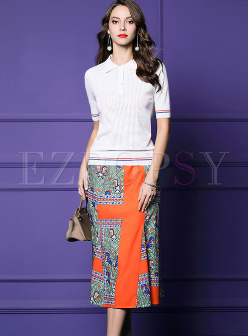 Lapel White Slim T-shirt & High Waisted Print Skirt