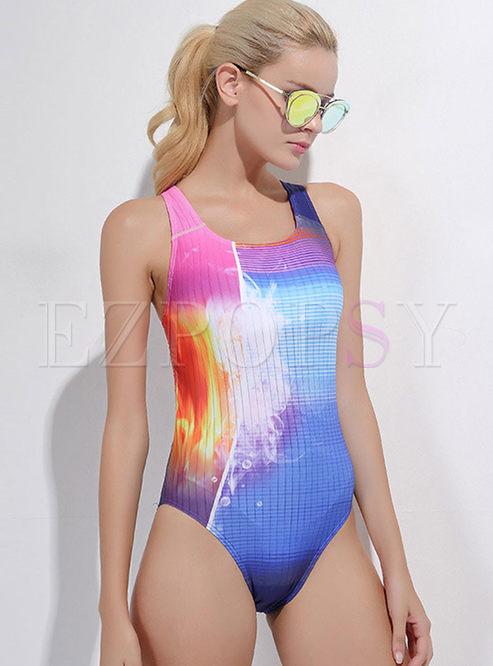 Fashion Color-blocked O-neck One Piece Swimwear