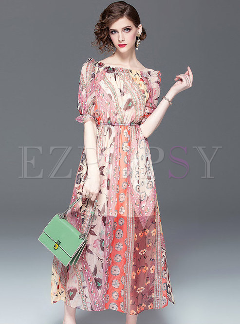 Print Slash Neck Elastic Waist Slim Dress
