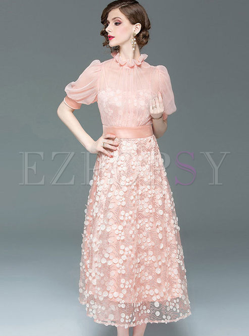 Lantern Sleeve Splicing Mesh Polka Dot Dress