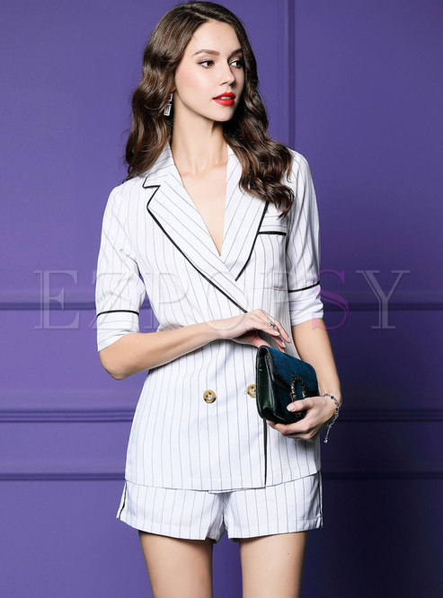 Notched Striped Half Sleeve Short Pant Suits
