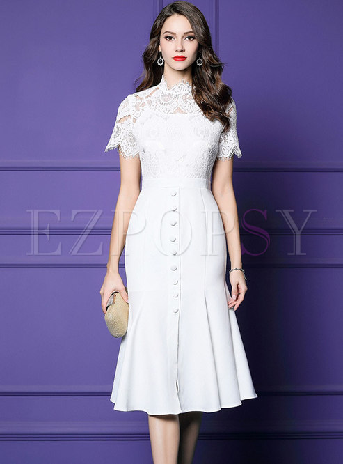 Elegant Lace Splicing Hollow Out Mermaid Dress