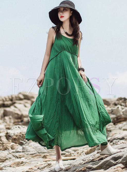 Pure Color V-neck High Waist Hem Slip Dress