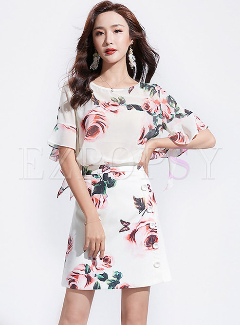 Print O-neck Flare Sleeve Top & High Waist Mini Skirt