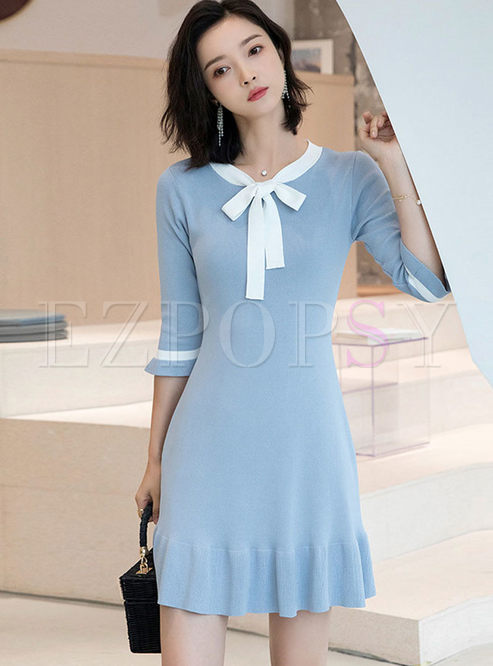 Chic Three Quarters Sleeve Knitted Skater Dress