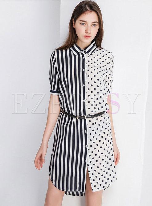 Casual Lapel Striped Polka Dot Asymmetric Dress Without Belt