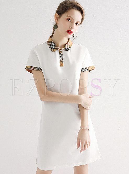 Plaid Splicing Turn-down Collar T-shirt Dress