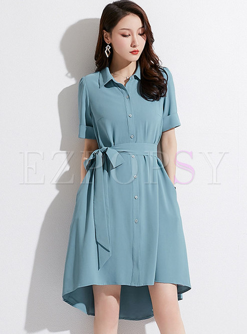 Solid Color Lapel Belted Asymmetric Dress