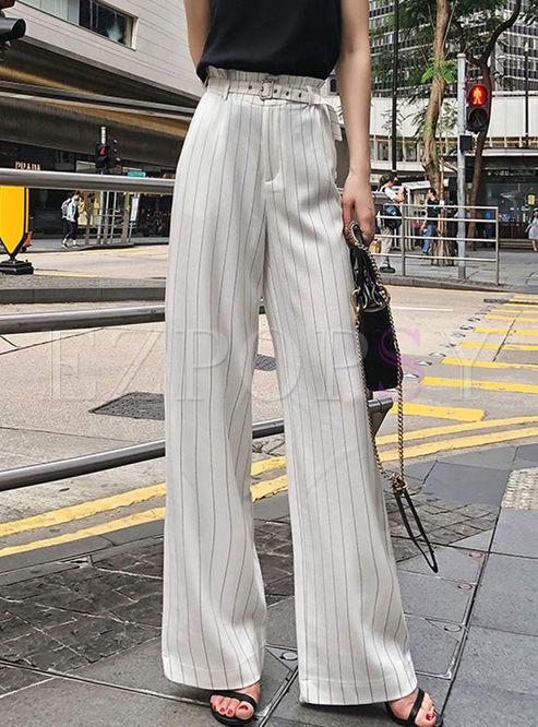 Trendy White Casual Striped Wide Leg Pants