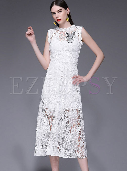 White Sleeveless Lace Hollow Out Maxi Dress