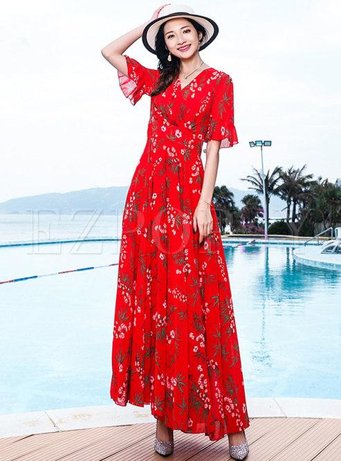 Bohemian V-neck Chiffon Big Hem Maxi Dress