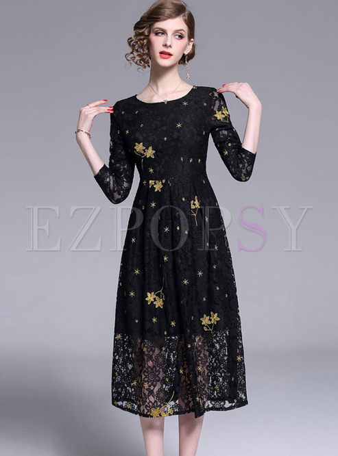 Brief O-neck Long Sleeve Print Lace Skater Dress