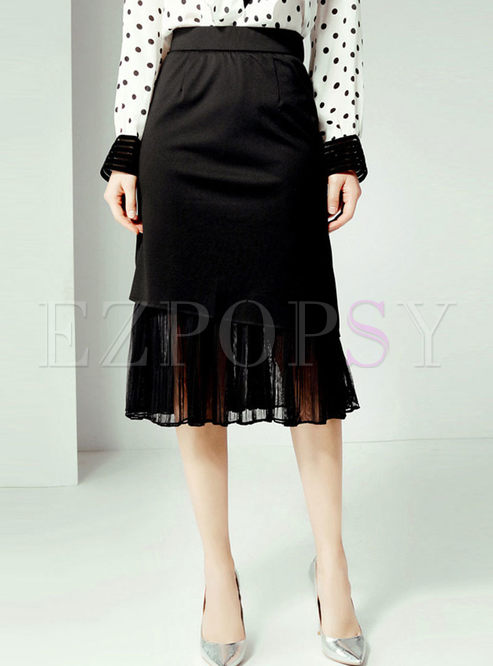 High Waist Solid Color Splicing Lace Skirt