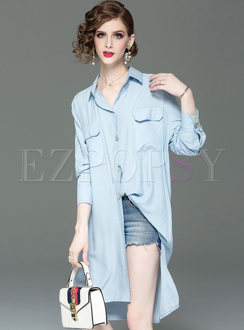 Solid Color Lapel Single-breasted Loose Coat