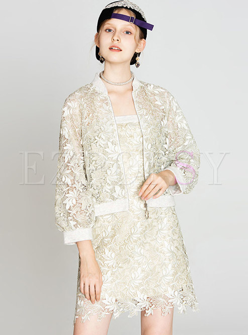 Solid Color Lace Coat & High Waist Sheath Dress