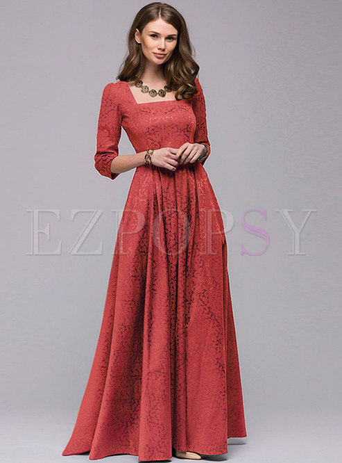 Party Square Neck Long Sleeve Big Hem Evening Dress