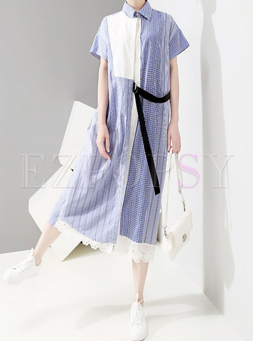 Striped Splicing Tie-waist Single-breasted Dress