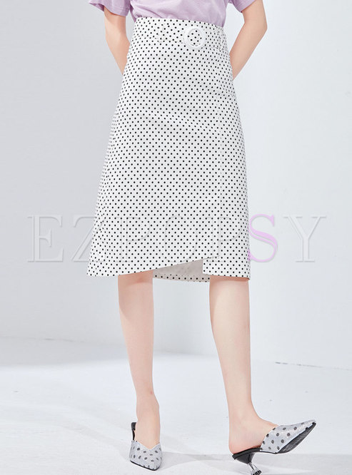Polka Dot High Waist Asymmetric Sheath Skirt