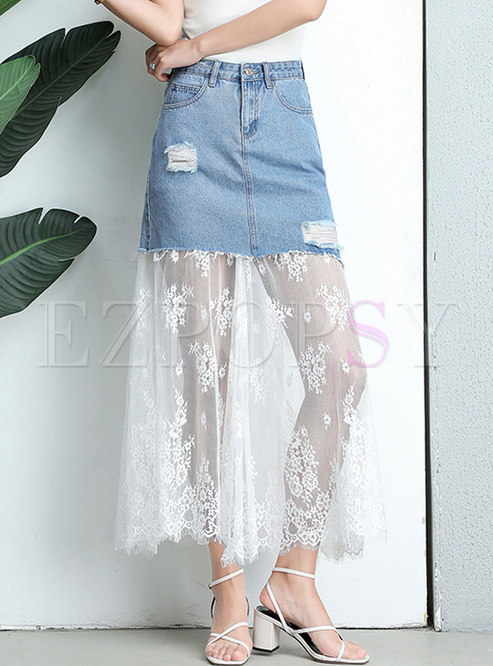 Denim Lace Splicing High Waist Skirt