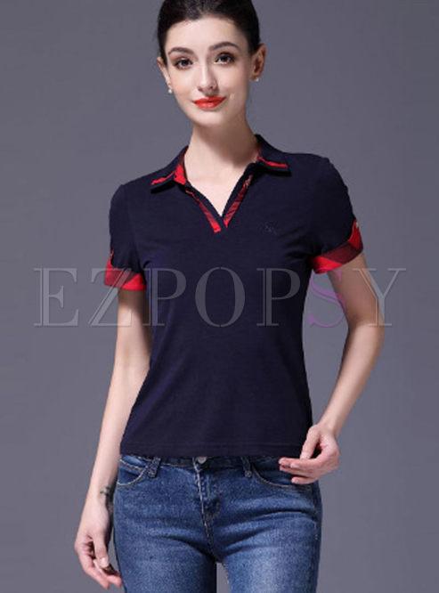 Work Lapel Short Sleeve Slim Polo T-shirt