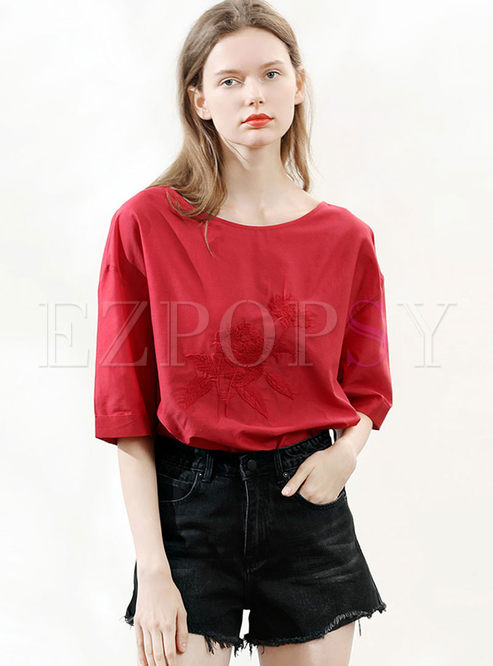 Casual Embroidered Half Sleeve Pullover T-shirt