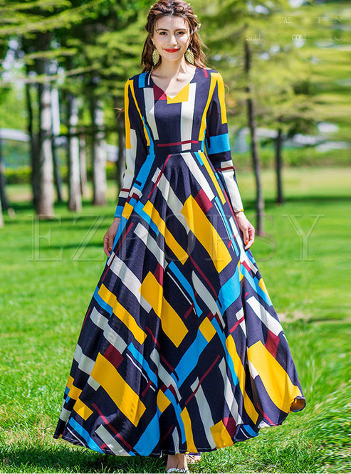 Bohemian V-neck Long Sleeve Geometric Print Dress