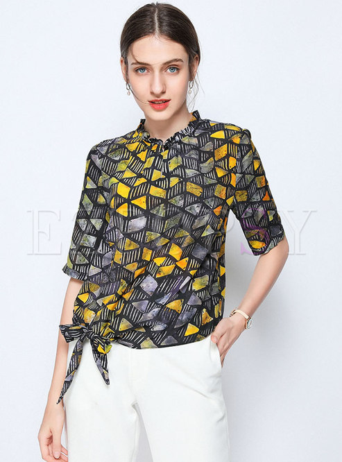 Casual Print Stand Collar Tied Pullover Blouse