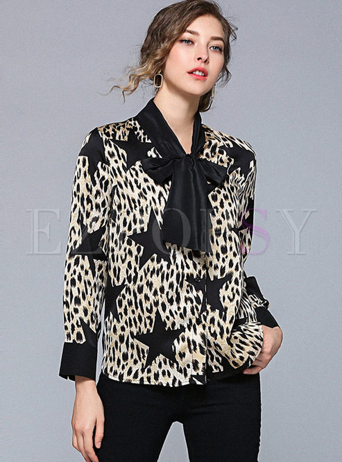 V-neck Tied Star Print Leopard Blouse