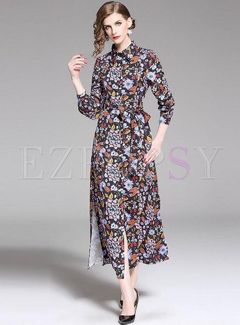 Vintage Lapel Multi-color Tied Split Maxi Dress