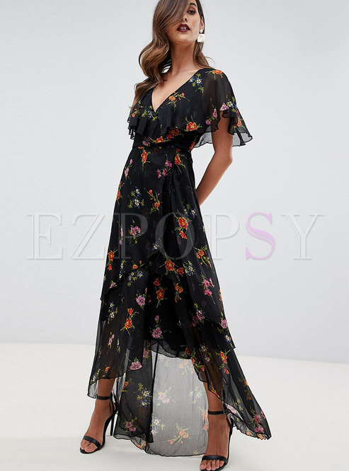 Brief V-neck Irregular Print Falbala Maxi Dress